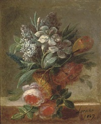 summer flowers in a vase on a stone ledge (+ another similar; pair) by le riche (leriche)