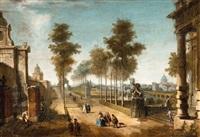 a tree lined avenue with figures by francesco battaglioli