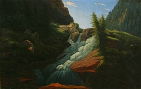 fertile norwegian landscape with a waterfall by carl anton saabye