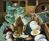 still life with eggs and pear by siegfried gerhard reinhardt