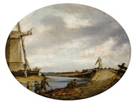 windmill by the bank of a river by salomon van ruysdael