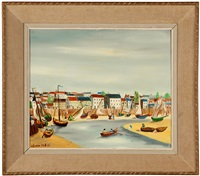 reflux, french village with boats and figures in a bay by claude tabet