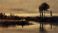 a tranquil river scene with figures fishing from a rowboat in the foreground by edward henry fahey
