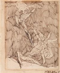 perseus erhebt sich mit dem abgeschlagenen haupt der medusa in die luft, die beiden anderen gorgonen, stheno und euryale, versuchen ihn zu verfolgen by henry fuseli