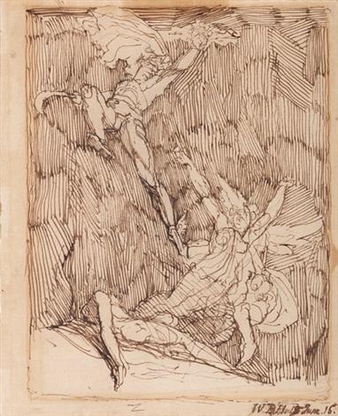 perseus erhebt sich mit dem abgeschlagenen haupt der medusa in die luft die beiden anderen gorgonen stheno und euryale versuchen ihn zu verfolgen by henry fuseli