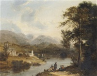 an extensive river landscape with figures resting on the bank in the foreground and a village beyond by j. w. allen