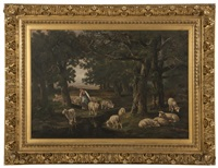 shepherdess and sheep watering in a forest interior by charles ferdinand ceramano