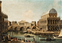 an architectural capriccio with the ponte di rialto after a design by palladio and buildings in vicenza by canaletto