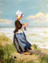 dutch girl on beach by oscar miller