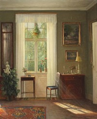 interior with sunlight through a window by hans hilsoe