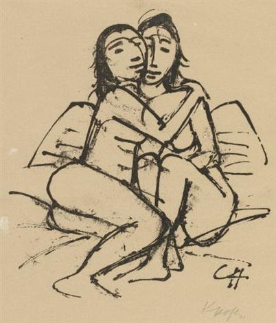 am morgen ii (from die schaffenden) 1922 / zwei mädchen, hockend um 1923 (2 works) by karl hofer