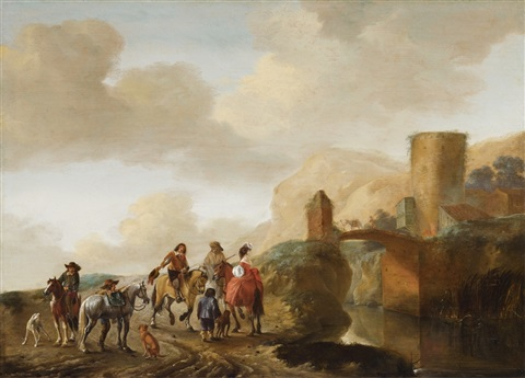 landscape with travellers and bridge by philips wouwerman