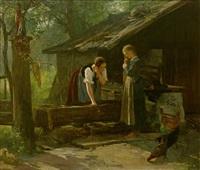 zwei mädchen in tracht bei der haarwäsche am brunnen vor kleinem gehöft by paul friedrich meyerheim