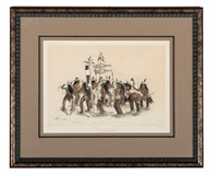 the snow-shoe dance color lithograph by george catlin