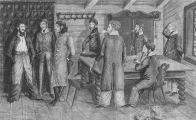 acht offiziere in einer bauernstube teils vor einem kachelofen stehend beim gespräch by anton wilhelm strack