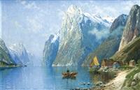 große fjordansicht mit zwei fischern u. einer siedlung im vordergrund, sowie einem dampfer im hintergrund by carl bertold