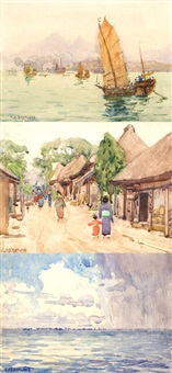 asian village (+ 7 others; 8 works, some smaller) by charles herbert eastlake