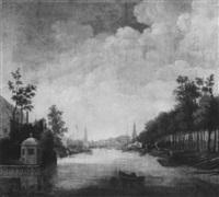 holländische stadt an einem fluss by theodorus van dommelen