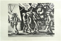 picket line (+ the argument, 1938; 2 works) by herman roderick volz