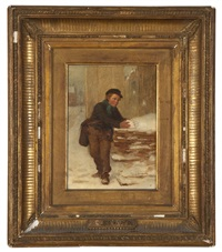 boy holding a snowball by john george brown