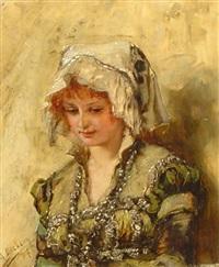 porträt einer jungen schönheit in tracht by max lieberg