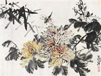 菊花蜻蜓 镜片 设色纸本 by liu changchao