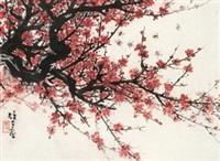 红梅报春 镜心 纸本 by li xiongcai