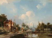 kanallandschaft vor einer stadt by adrianus david hilleveld