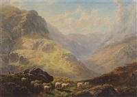 a view of glen finart, argyleshire with sheep in the foreground by william davies