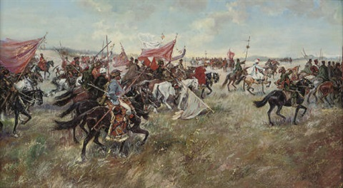 cossacks riding into battle by franz rouboud