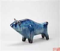 窑变釉 牛气冲天 瓷塑 by liu yuanchang