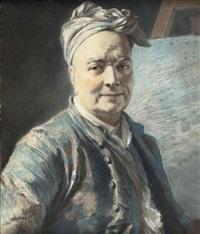 portrait of louis de silvestre the younger before an easel by maurice quentin de la tour