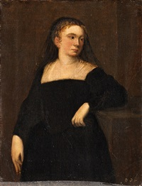 a portrait of a lady with a black veil by spanish school (18)