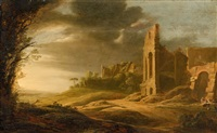 landscape with roman ruins by pieter anthonisz van groenewegen