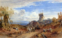 travellers on a country road with windmill beyond by william leighton leitch
