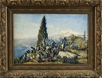 landschaft bei taormina mit dem ätna im hintergrund by theo goedvriend
