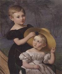 portræt af brodrene theodor og thorvald damborg. to små lyshårede dreng med blå ojne placeret i en have by louis auguste francois aumont