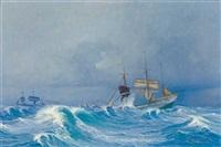 segelschiffe in schwerer see by harry kluge
