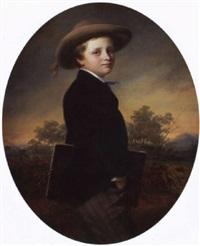 porträt des wilhelm von guérard als jüngling mit zeichnungsmappe vor landschaft by johann hermann kretzschmer