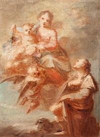 la virgen con el niño jesús y san roque by fedele fischetti