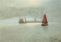 coastal scenery at schelde, holland by alexander reich-staffelstein