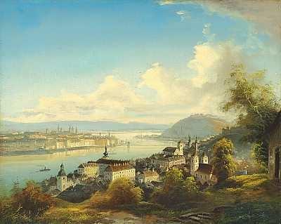 parti fra budapest med gellért hill og chain bridge by friedrich wilhelm jankowski