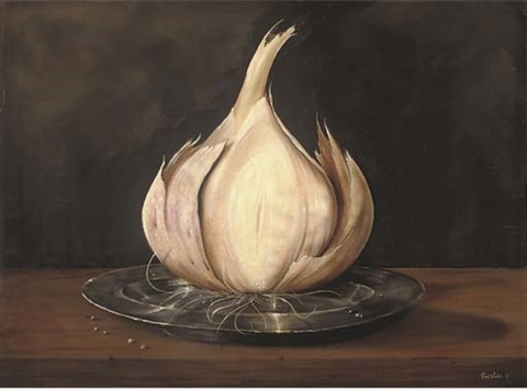 a garlic clove on a pewter dish by paul karslake