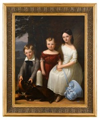 portrait of three children and a dog by robert street