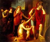 klassisk sceneri med kriger samt stående og knælende kvinder og barn by harriet a. e. jackson