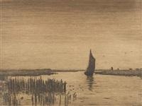 torfboot auf der hamme (+ moorkate mit remarque biene .; 2 works) by hans am ende