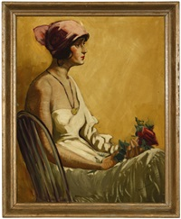 portrait of a lady in profile holding a rose by reva jackman