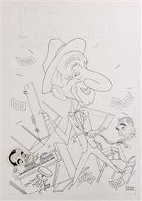 caricature for 'the jimmy durante show', 50 years in entertainment, on aug 6, 1961 cover new york journal american tview mag by george wachsteter