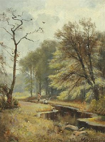 spring with anglers by a stream by carl frederik peder aagaard