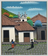 Honduran Street with Woman and Priest, 1976